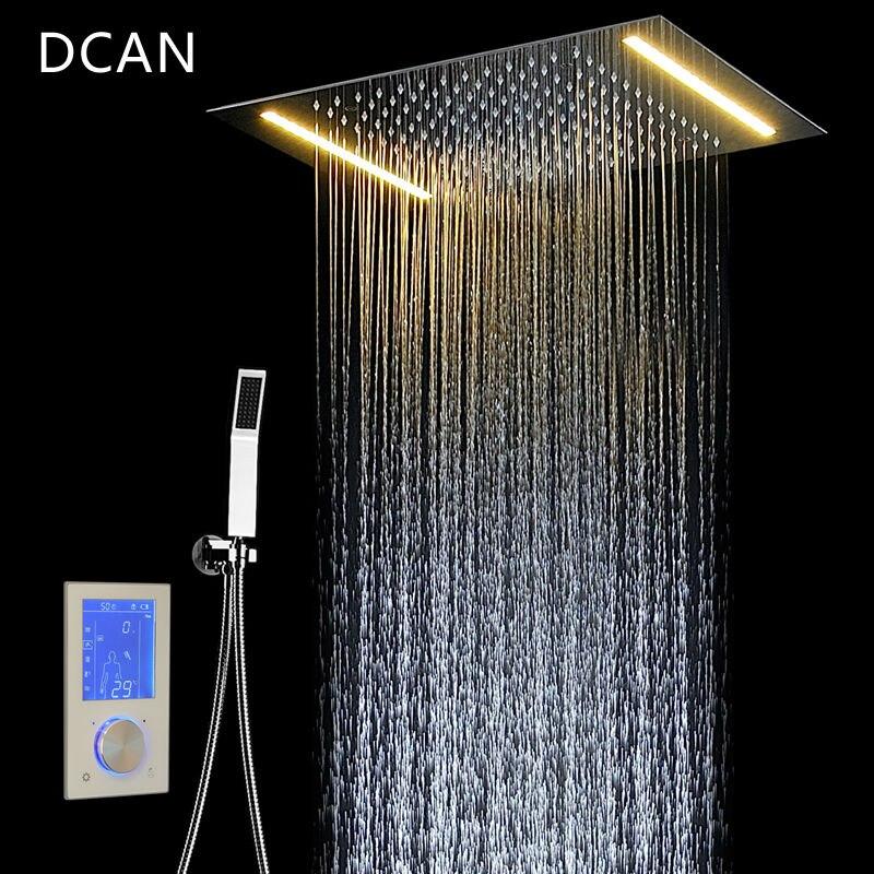 DCAN ensemble de douche numérique contrôleur panneau de commande tactile SUS304 pluie salle de bains contrôle thermostatique Led robinet de douche numérique