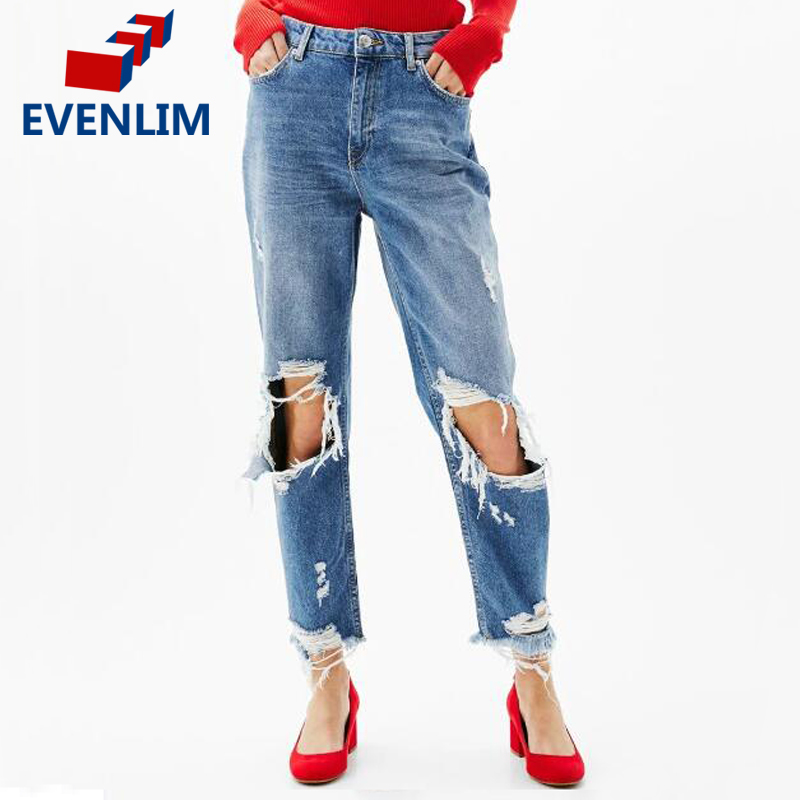 EVENLIM Blue Jeans Women Casual Hole Ripped Jeans for Girl Zipper Straight Hollow out Denim Pants Vintage Loose Trousers DRT447 women girls casual vintage wash straight leg denim overall suspender jean trousers pants dark blue