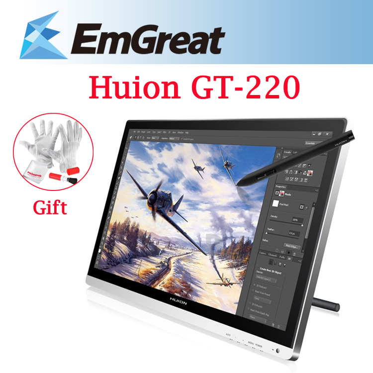Huion GT-220 21.5 IPS Panel LCD Digital Tablet Monitor Drawing Graphics Interactive Pen Display tableta grafica + Charging Pen