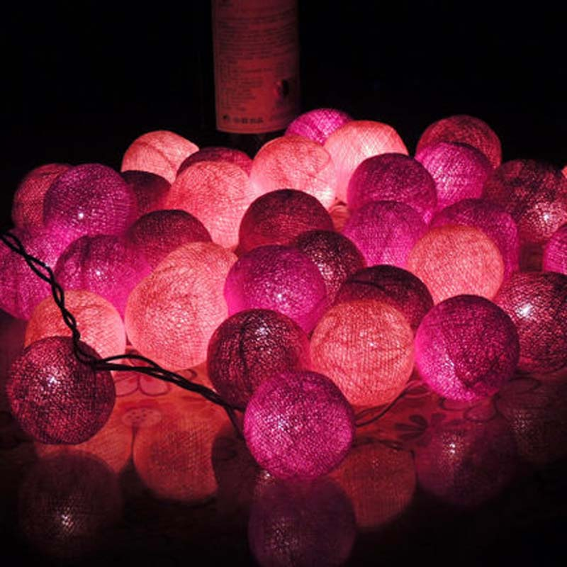 20pcs Purple Cotton Ball Lights LED String Fairy Lights New Year Christmas Decorations Guirnalda Luces De Navidad Wedding Decor