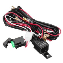 Universal 12V Car red LED Light Bar ON/OFF Rocker Toggle Switch Wiring Harness Relay Fuse Auto Work Light Fog Ignition Switch