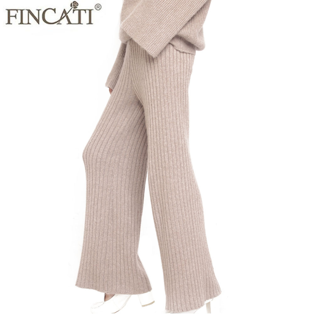 Wide     leg     Pants   Women Pure Cashmere Autumn Winter New Fashion Causal Loose Ribbed Elbow Knitted Full Length Trousers   Pant