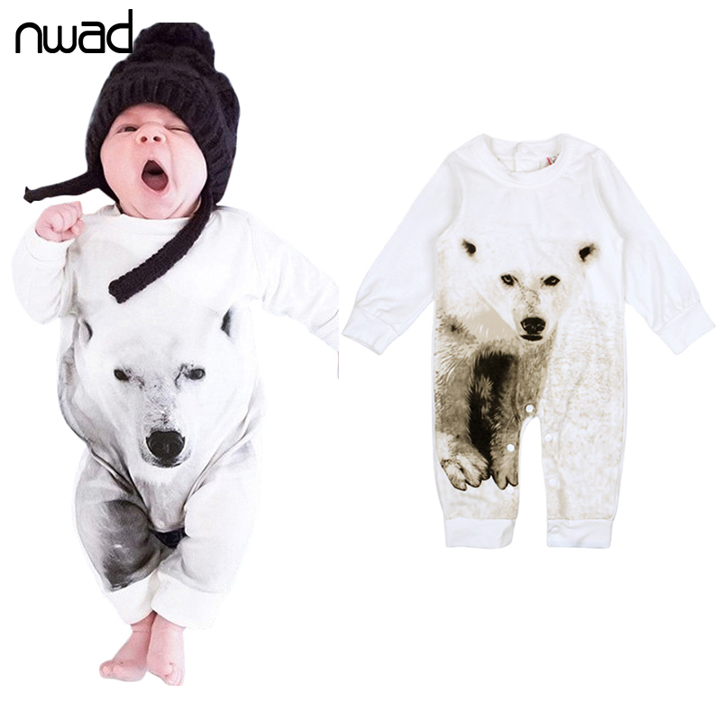 2017 New Fashion Baby Boy Clothes Long Sleeve Baby Rompers Newborn Cotton Baby Girl Clothing Infant Animal Print Jumpsuit FF196 cotton baby rompers infant toddler jumpsuit lace collar short sleeve baby girl clothing newborn bebe overall clothes