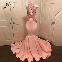 Abiye Peach Pink Lace Mermaid Prom Gowns Halter Off Shoulder Robe De Soiree Longue Appliques Long Prom Dress 2019 Formal Dress