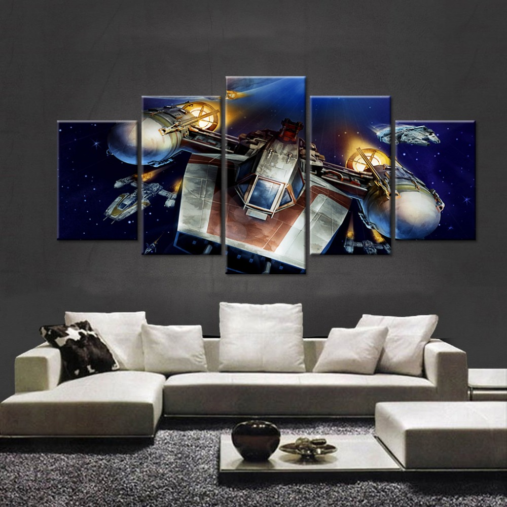5 Panel Star Wars Type Y Wing Fighter Oil Canvas Painting Picture ...