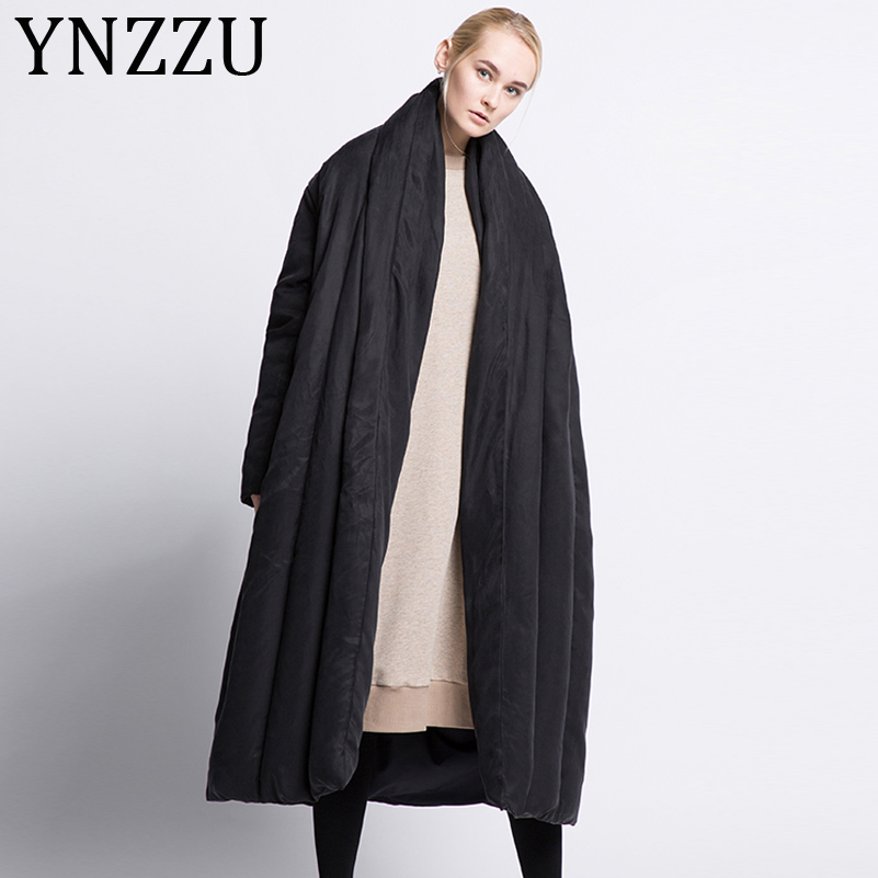 YNZZU Luxury 2019 Winter Jacket Women European Extra Long Quilt Warm Loose White Duck   Down     Coats   Female Snow Overcoat A1048