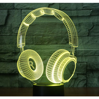3D LED Night Light Music Dynamic Headset With 7 Colors Light For Home Decoration Lamp Amazing
