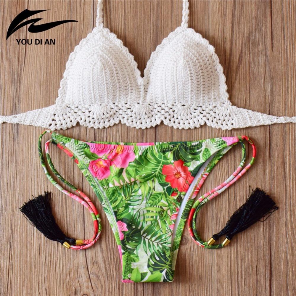 7e090c28dd5 2019 Crochet Bikini Set Pure Handmade Top Sexy Swimwear Women Floral Print  Biquini Swimsuit push up bikini set mujer feminino -in Bikinis Set from  Sports ...