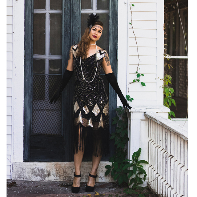 Vintage Women Plus Size Great Gatsby Dress Sleeveless V Neck 1920s Flapper Dress Cocktail Party Fringed Sequin Dress for Party