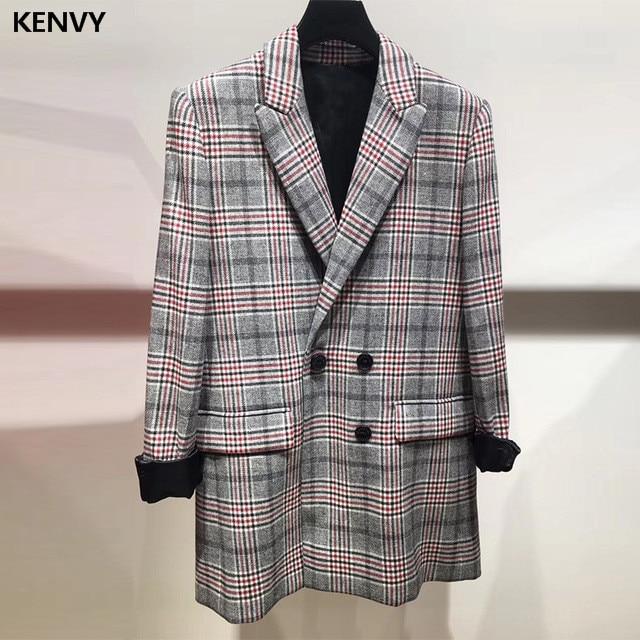 KENVY Brand fashion high-end luxury women autumn British vintage checked plaid Wool Blazers Coat