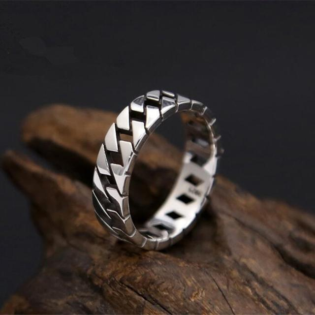 3294ffcf6f00 Sólido plata 925 anillo para hombre cadena simple banda Slash borde 100%  real 925 joyería