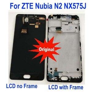 Image 1 - Оригинальная лучшая Рабочая рамка + полноэкранная панель ЖК дисплея, кодирующий преобразователь сенсорного экрана в сборе для телефонов ZTE Nubia N2 NX575J, сенсорные детали
