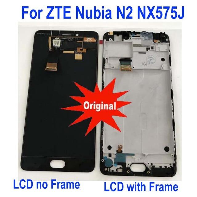 Oryginalny najlepiej działa rama + pełny ekran LCD panel wyświetlacza ekran dotykowy Digitizer zgromadzenie dla ZTE Nubia N2 NX575J telefon czujnik części