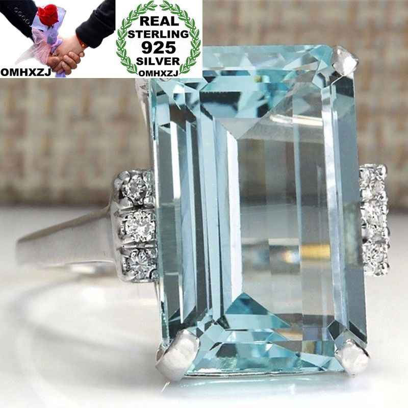 OMHXZJ Wholesale European Fashion Woman Man Party Wedding Gift Silver Blue Rectangle Topaz  925 Sterling Silver Ring RR118