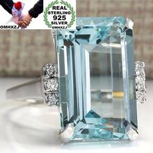 OMHXZJ Wholesale European Fashion Woman Man Party Wedding Gift Silver Blue Rectangle Topaz 925 Sterling Silver Ring RR118(China)