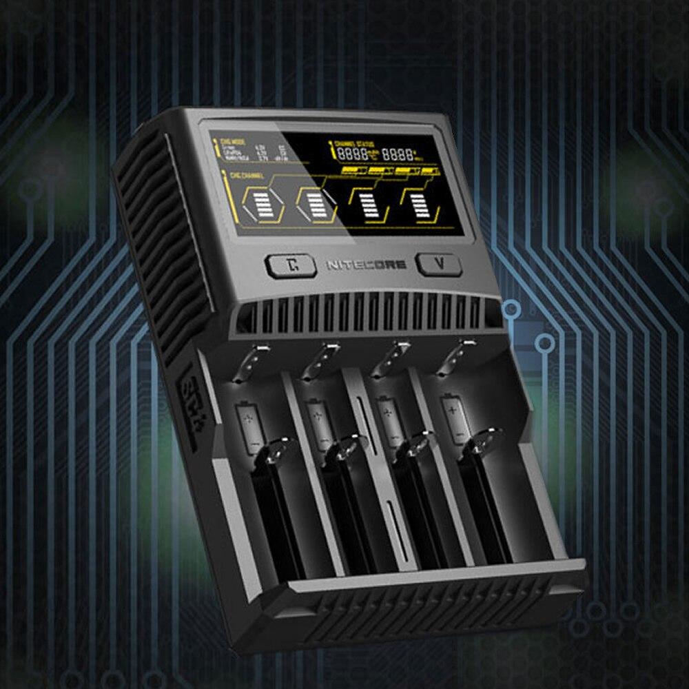 Topsale NITECORE SC4 chargeur Intelligent plus rapide superbe 4 emplacements 6A sortie totale Compatible 18650 14500 16340 AA batterie