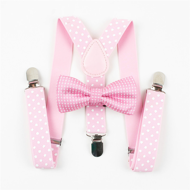 Mantieqingway Boys Gilrs Suspender Bowties Set For Children Wedding Bowties Suspenders Baby Kids Polka Dots Bow Ties Braces Belt