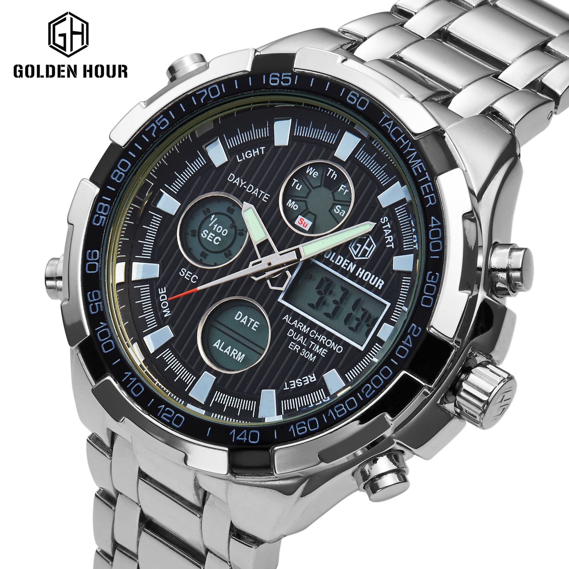 Mens watches top brand luxury Gold full Steel Dress Quartz Watch Luminous Hands Multifunctional Wristwatches dz watches for men