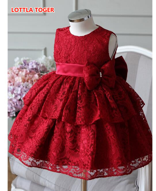 Elegant Girl Dress Girls 2017 Summer Fashion Red Lace Big Bow Party Tulle Flower Princess Wedding Dresses Baby Girl Dress lace butterfly flowers laser cut white bow wedding invitations printing blank elegant invitation card kit casamento convite