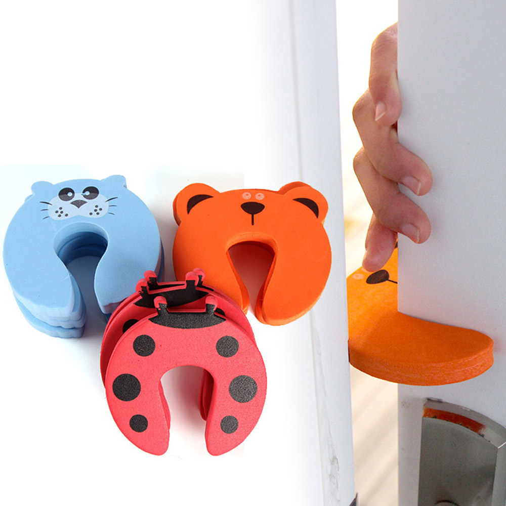 4 X Door Stop Finger Pinch Safety Guard Finger Protector Safety Guard Lock Cartoon Animal Colorful Door Stopper For Infant Baby