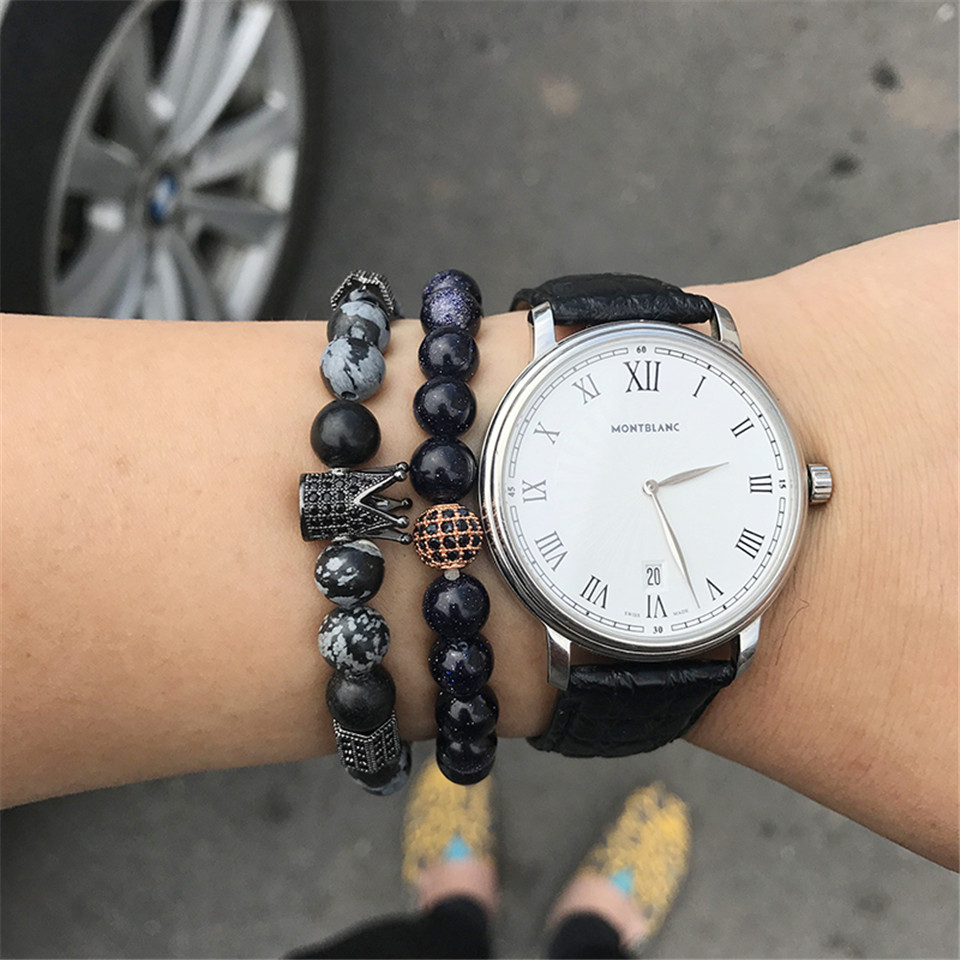 New trendy black white stone beaded bracelet Fashion gold silver color alloy crown bracelet for women men couple bangles jewelry 1