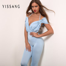 ea5b940950 Yissang Apparel Spring Deep V Neck Chiffon Jumpsuit Women Elegant Halter  Romper Pleated Short Playsuit Sexy