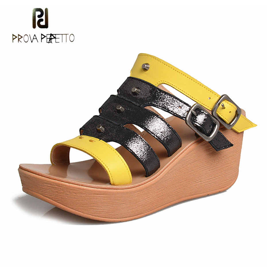 Prova Perfetto rivet mixed color genuine leather belt buckle slippers women hollow out thick bottom open toe sandals wedge heelsProva Perfetto rivet mixed color genuine leather belt buckle slippers women hollow out thick bottom open toe sandals wedge heels