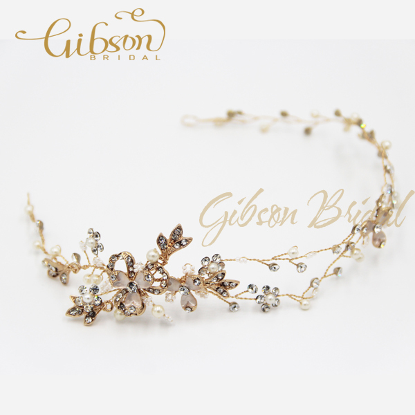 Free Shipping Gold Rhinstone And Crystal Bridal Headpiece Wedding Accessories