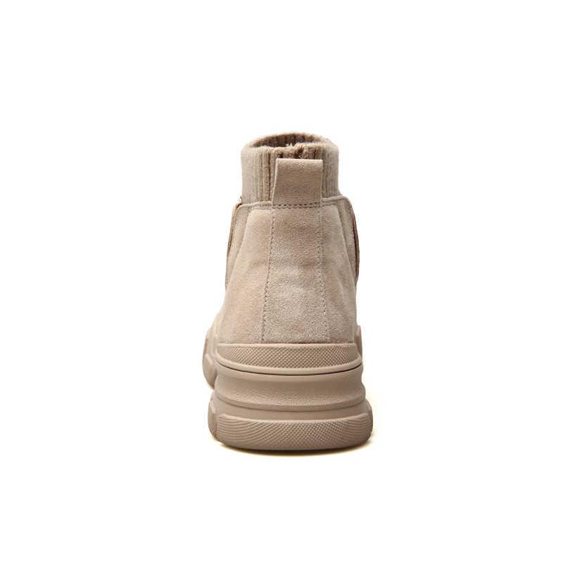ROXDIA İngiliz moda akın erkek botları sonbahar kış sıcak kore tarzı erkek ayak bileği çorap çizme erkek ayakkabı için 39- 44 RXM128