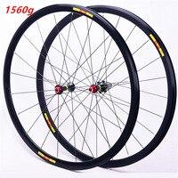 Bicycle road wheel set 700C front 20 rear 24 holes ultra light 8 9 10 11 speed wheels rims 1560g