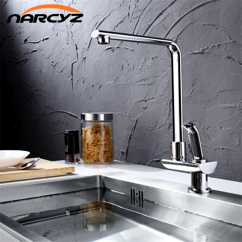 Narcyz Modern Style Kitchen Faucet Cold and Hot Water Mixer Single Handle Outlet of Right Angle Design 360 Degree RotationXT-106 micoe hot and cold water basin faucet mixer single handle single hole modern style chrome tap square multi function m hc203