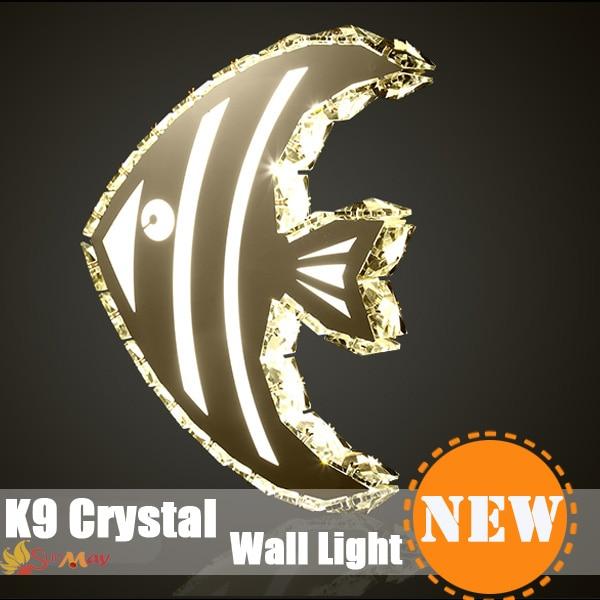 Fish Shape Modern LED Crystal Mirror Light Bathroom Wall Lamp Crystal Wall Sconce Bathroom Mirror Light for bedside home decor