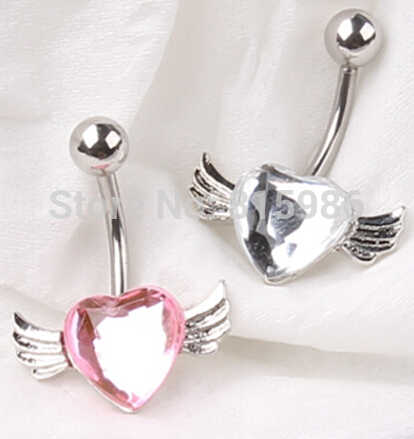 Trendy Lover Wing Dangle Plugs and Tunnels Navel Body Piercing Navel Belly Button Ring Belly Bars Body Jewelry