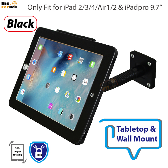Stand for any viewing angles Security Gooseneck Tabletop Wall Mount holder for ipad Air12 Pro anti-theft bracket lock display for ipad 2 3 4 air pro 9 7 table gooseneck lock mount display on restaurant security desktop holder mounting on shop