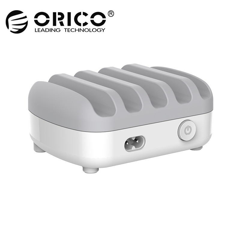 ORICO Caricatore USB 5 Porte 5 v 2.4A 40 w Stazione di Ricarica Desktop Smart Phone Caricatore Tablet con il Basamento per iphone 7 plus caricatore