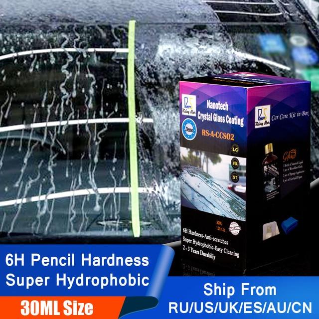 Espray repelente de agua para vidrio de coche, líquido antilluvia, súper hidrofóbico, Nano recubrimiento de cerámica, impermeable, limpieza de parabrisas automático, 30ml