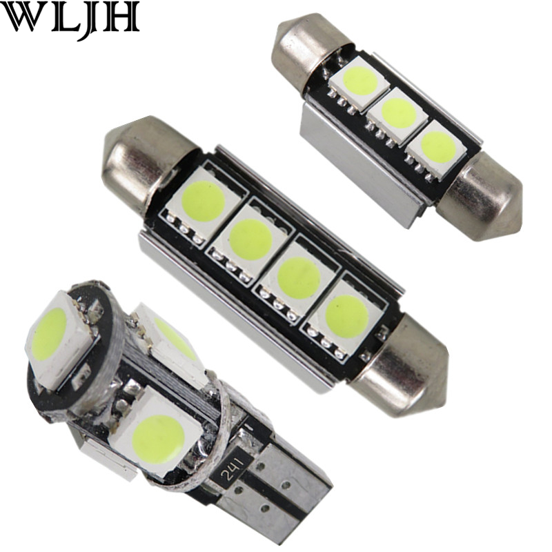 WLJH White Error Free Canbus Car LED Bulb Interior Light Package Kit for BMW 5-Series E39 Sedan 525i M54 M5 S62 1996-2003 18x