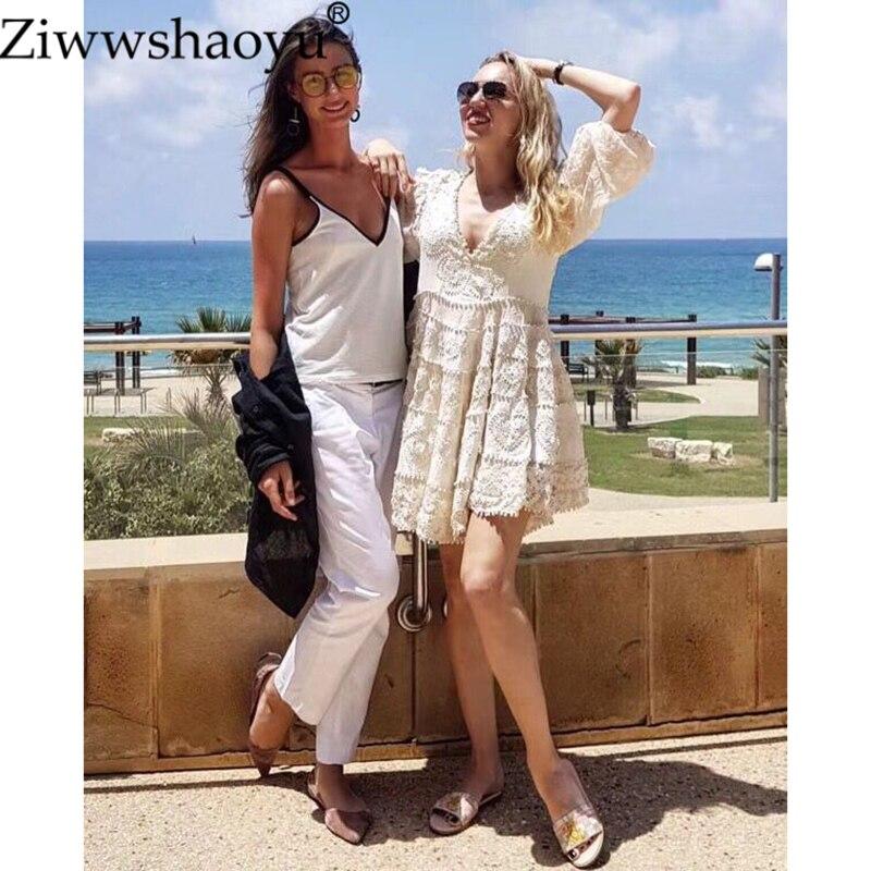 Haute Manches V Femmes Qualité Sexy Broderie Ziwwshaoyu Cou Blanc rdxBCeo