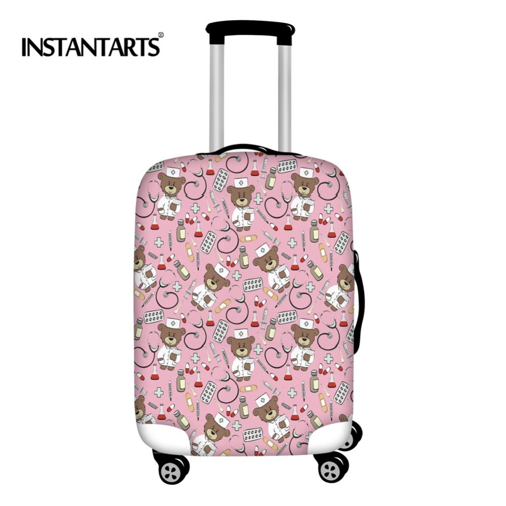 INSTANTARTS Travel Accessories Trolley Luggage Protective Covers Doctor Bear Printing Waterproof Elastic Suitcase Cover 18