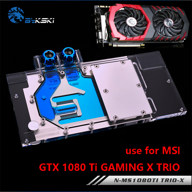 US $84 15 15% OFF|BYKSKI Full Cover Graphics Card Water Block use for MSI  GTX1080TI GAMING X TRIO RGB Light GPU Radiator Block -in Fans & Cooling  from