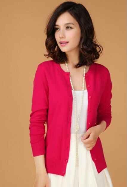 2019 여성 새로운 캐시미어 카디건 o-넥 니트 셔츠 큰 야드 짧은 스웨터 여성 드레스의 슬림 한국어 버전