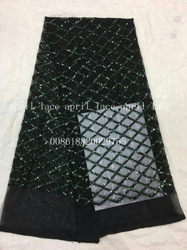 aa002-4 green sequin black mesh newest best quality grid paillette pattern net mesh lace fabric for wedding party