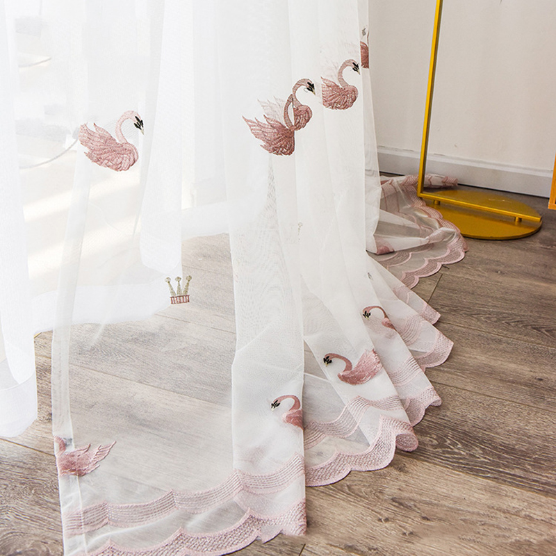 Pink Cute Swan Balcony Decorative Drapes - White Embroidered Curtains Sheer Screens For Living Room Best Children's Lighting & Home Decor Online Store