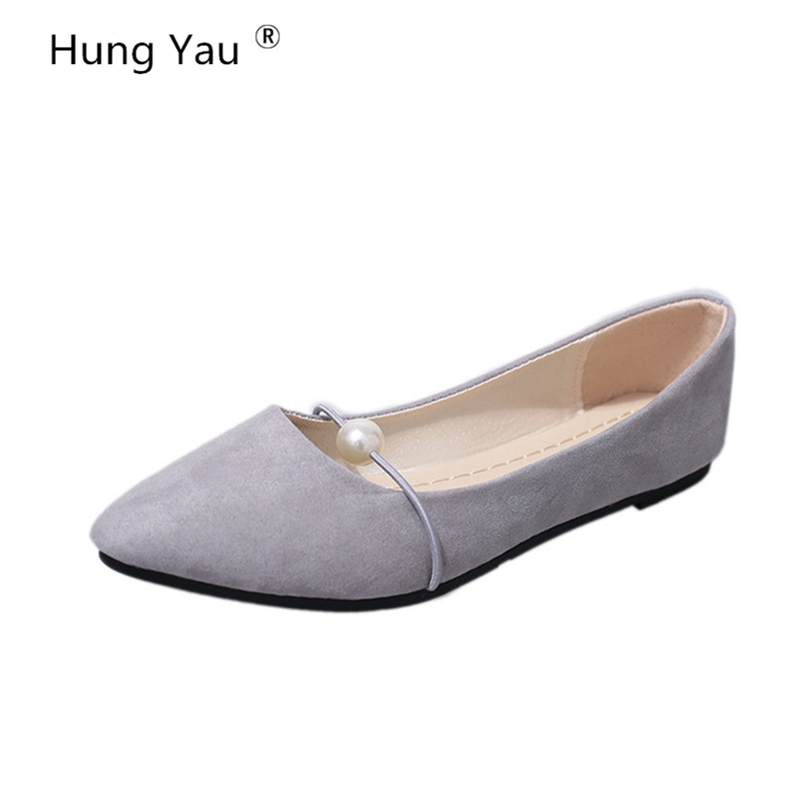Hung Yau Women Flats Casual Pointed Toe Slip-On Flat Shallow Shoes Soft Comfortable Breathable Leather Shoes Woman Plus Size 41 embroider women flower flats slip on cotton fabric casual shoes comfortable round toe flat shoes plus size soft sole mother shoe
