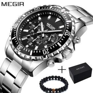 Image 1 - Megir Men Watch Sport Stainless Steel Analog Quartz Wristwatch Multifunction Chronograph Relojes Masculino Hombre Clock man 2018