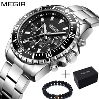 Megir Men Watch Sport Stainless Steel Analog Quartz Wristwatch Multifunction Chronograph Relojes Masculino Hombre Clock man 2018