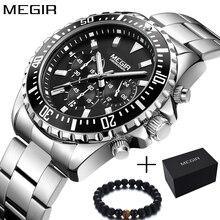 Megir relógio masculino analógico quartzo, relógio esportivo multifuncional cronógrafo de aço inoxidável 2018