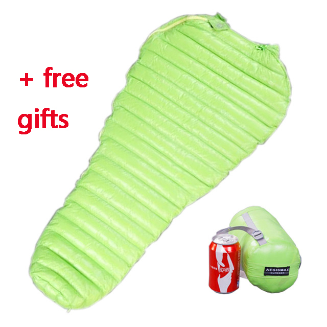Aegismax Ultralight Lengthened Mummy Sleeping Bag White Goose Down Outdoor Camping Sewn Through Black&Green 200x80cm / 180x78cm 2017 aegismax m3 lengthened mummy
