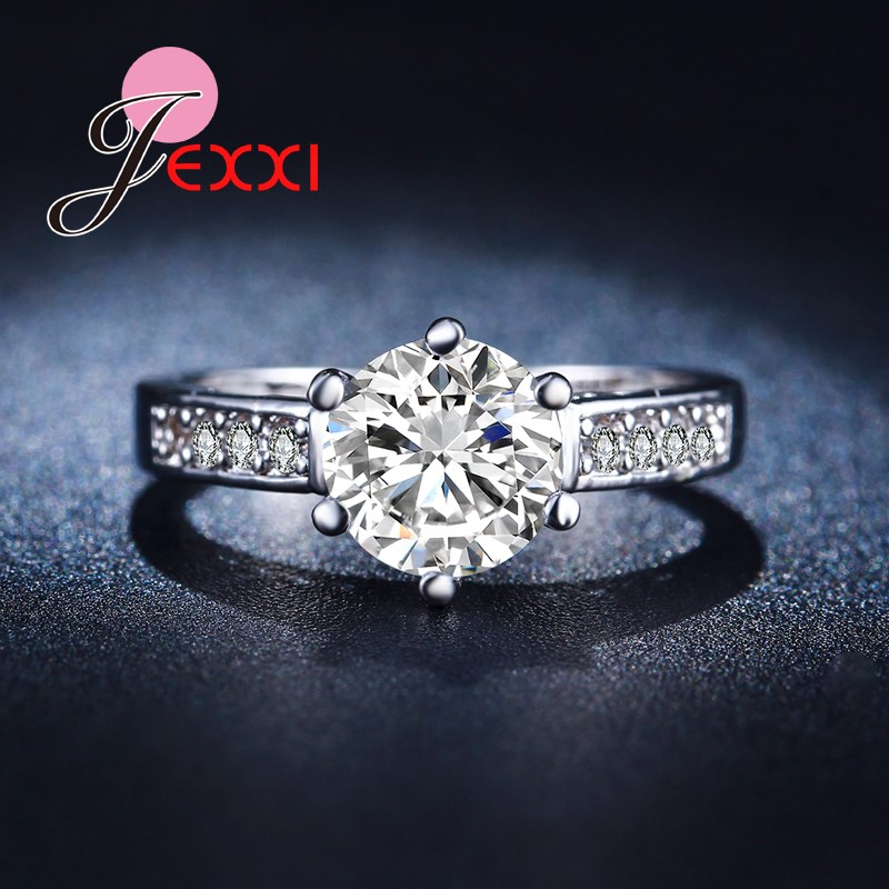 Jemmin Luxury Wedding Jewelry Simple Style Propose Rings Women Favorite Round Crystal Finger Accessory Fashion Silver Lady Gift