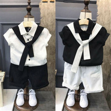 Kids Baby Boys 2Pcs Set Clothes Top Tie Turn-down Collar Solid Color Button T-shirt Striped Shorts Gentleman Summer Clothes Suit 2018 children cotton pajamas set boys girls cardigan turn down collar solid color clothing kids air conditioning suit homewears